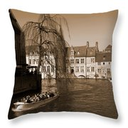 Bruges Canal Throw Pillow