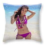 Brunette Model On Beach Throw Pillow by Tomas del Amo