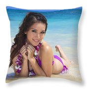 Brunette On Beach Throw Pillow by Tomas del Amo