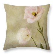 Brushed Pink Lisianthus Throw Pillow