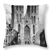 Brussels: Cathedral, 1838 Throw Pillow
