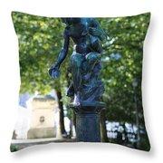 Brussels Royal Garden Fountain Throw Pillow