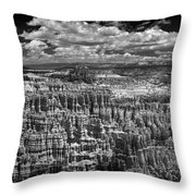 Bryce Canyon - Black And White Throw Pillow