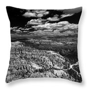 Bryce Canyon Ampitheater - Black And White Throw Pillow