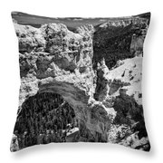 Bryce Canyon Arch - Black And White Throw Pillow