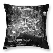 Bubble Blower Of Central Aprk In Black And White Throw Pillow