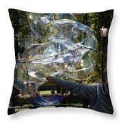Bubble Blowr Of Central Park Throw Pillow