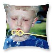 Bubble Boy Throw Pillow