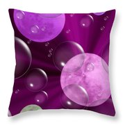 Bubbles And Moons - Purple Abstract Throw Pillow