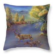 Buck And Doe Crossing River Throw Pillow