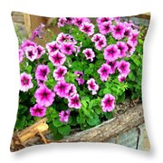 Bucket Of Blooms Throw Pillow