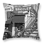 Bud'd Broiler New Orleans-bw Throw Pillow