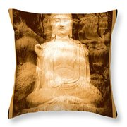 Buddha And Ancient Tree With Border Throw Pillow