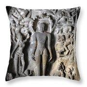 Buddha At Elora Caves India Throw Pillow
