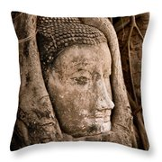 Buddha Head Strangled By The Roots  Throw Pillow