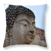 Buddha Head Wat Wattanaram Ayutthaya Thailand Throw Pillow