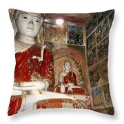 Buddha Image In Po Win Taung Caves. Throw Pillow