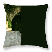 Buddha Statue Under Green Tree In Meditative Posture Throw Pillow