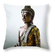 Buddha Statue With A Golden Robe Throw Pillow