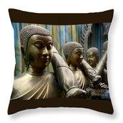 Buddhas With Umbrellas Throw Pillow