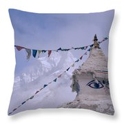 Buddhist Shrine In The Himalayas Throw Pillow