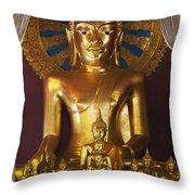 Buddhist Statue In Wat Phra Singh Throw Pillow