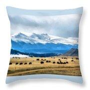 Buffalo Herd Painterly Throw Pillow