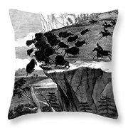 Buffalo Hunt, 1834 Throw Pillow