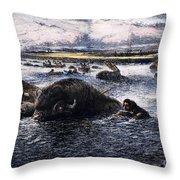 Buffalo Hunt, 1874 Throw Pillow