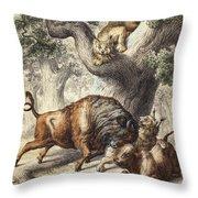 Buffalo & Lynx Throw Pillow