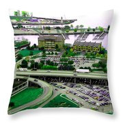 Buffalo New York Waterfront Aerial View Ultraviolet Effect Throw Pillow