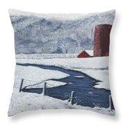 Buffalo River Valley In Snow Throw Pillow