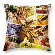 Bugs On Postage Stamps Throw Pillow