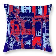Building Facade In Blue And Red Throw Pillow