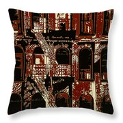 Building Facade In Brown And Red Throw Pillow