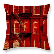 Building Facade In Red And White Throw Pillow