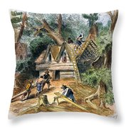 Building Houses, 17th C Throw Pillow