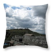 Buildings Cover The Lower Section Of A Hill That Has A Temple At The Top With Clouds Covering The Sk Throw Pillow