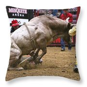 Bull 1 - Cowboy 0 Throw Pillow