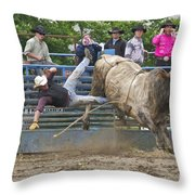 Bull 1 - Rider 0 Throw Pillow
