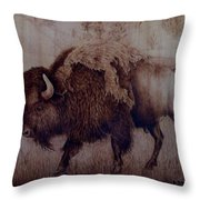 Bull Attitude Throw Pillow by Jo Schwartz
