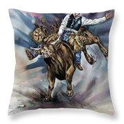 Bull Bucking His Rider Throw Pillow