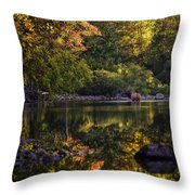 Bull Elk In Buffalo National River In Fall Color Throw Pillow