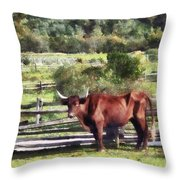 Bull In Pasture Throw Pillow by Susan Savad