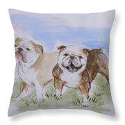 Bulldog Tough Love Throw Pillow