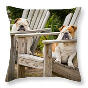 Bulldogs Relaxing At The Beach Throw Pillow