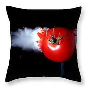 Bullet Hitting A Tomato Throw Pillow