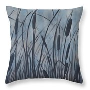Bullrush Blues Throw Pillow