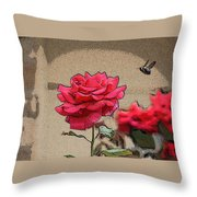 Bumble Bee And Rose Throw Pillow