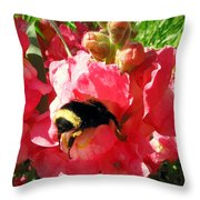Bumblebee And Snapdragon Throw Pillow